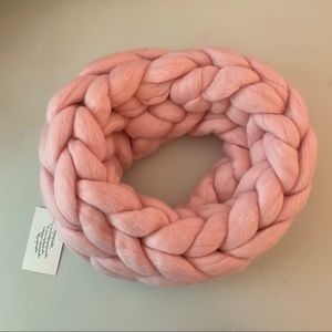 Chunky Knit Pink Infinity Scarf